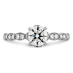 Lorelei Floral Engagement Ring-Diamond Band