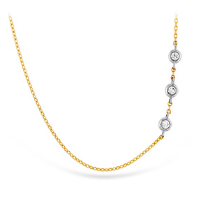 HOF Signature Off-Set Triple Bezel Necklace