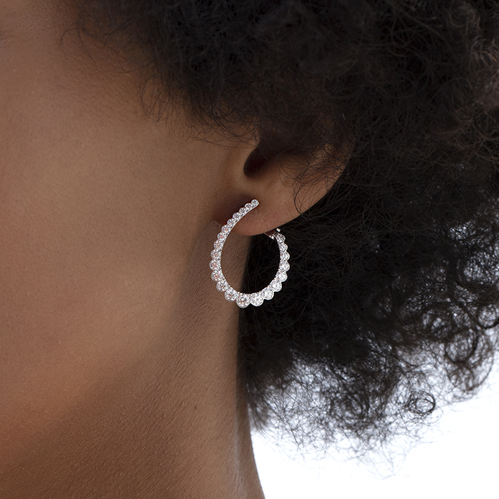 Aerial Regal Diamond Hoops Medium